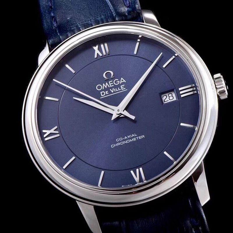 欧米茄高仿手表碟飞复商务系列男士机械超薄手表蓝皮蓝面