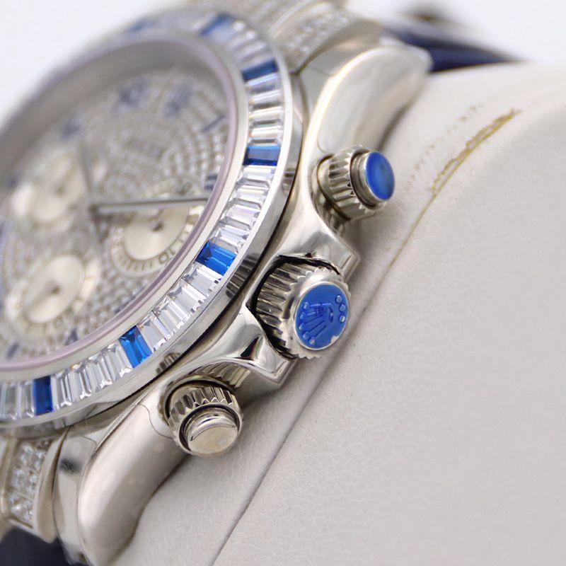 劳力士顶级高仿手表迪通拿系列密镶116599满天星蓝钻男士腕表