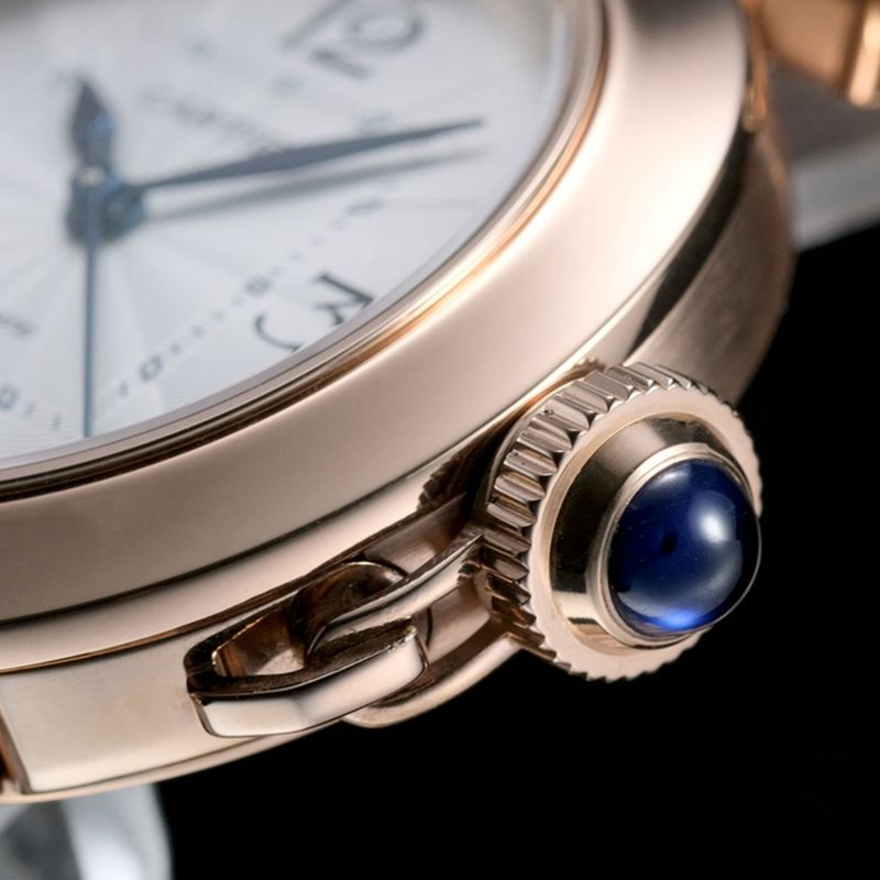 卡地亚顶级高仿手表Pasha系列女士全自动机械白面玫瑰金腕表
