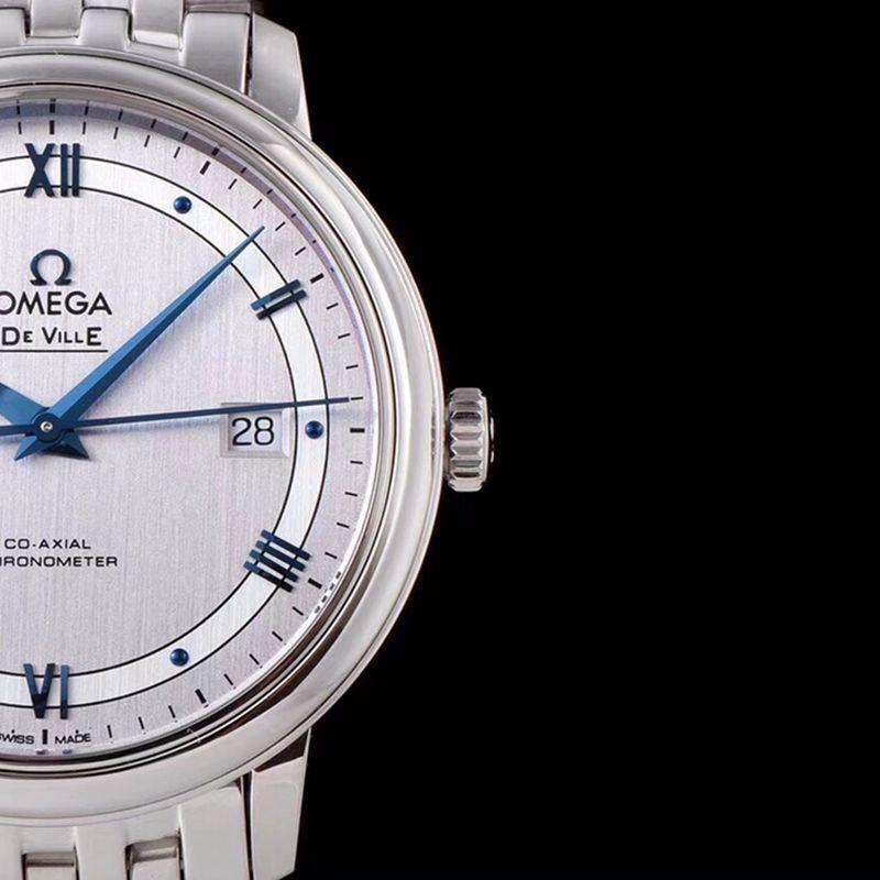 欧米茄精仿手表碟飞系列男士机械超薄手表白钢轨道白面