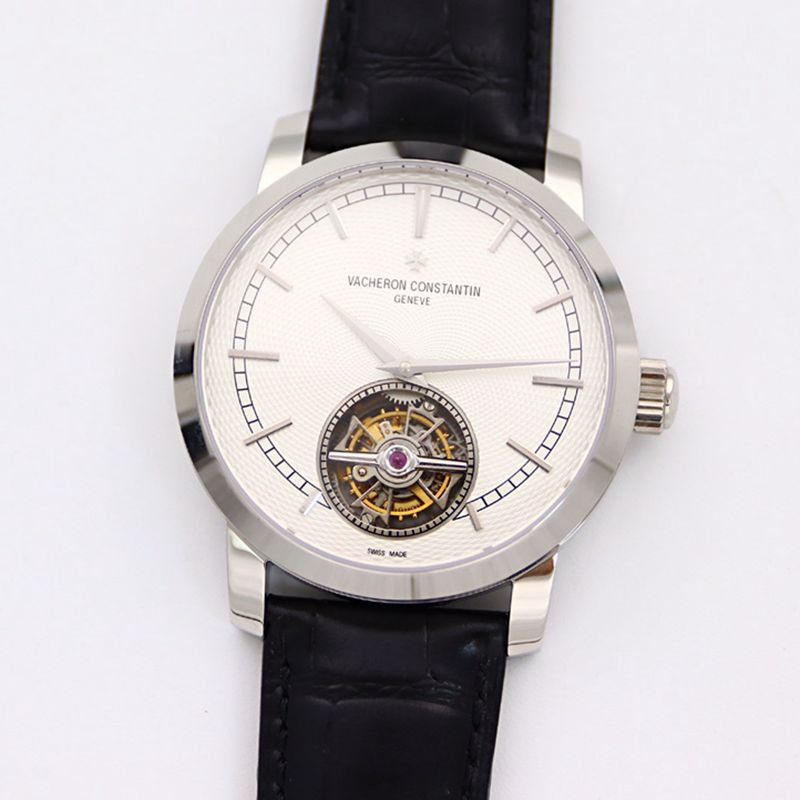 江诗丹顿顶级复刻手表Traditionnelle传袭系列陀飞轮皮带白盘男士腕表