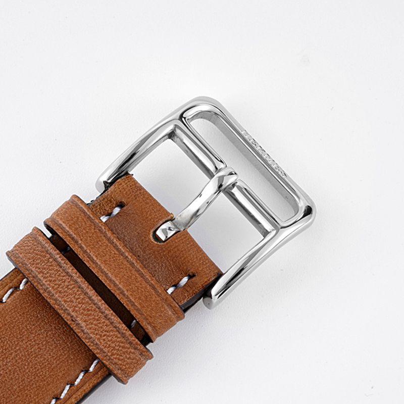 爱马仕顶级高仿手表HeureH大三针系列女士皮带白盘钻石腕表