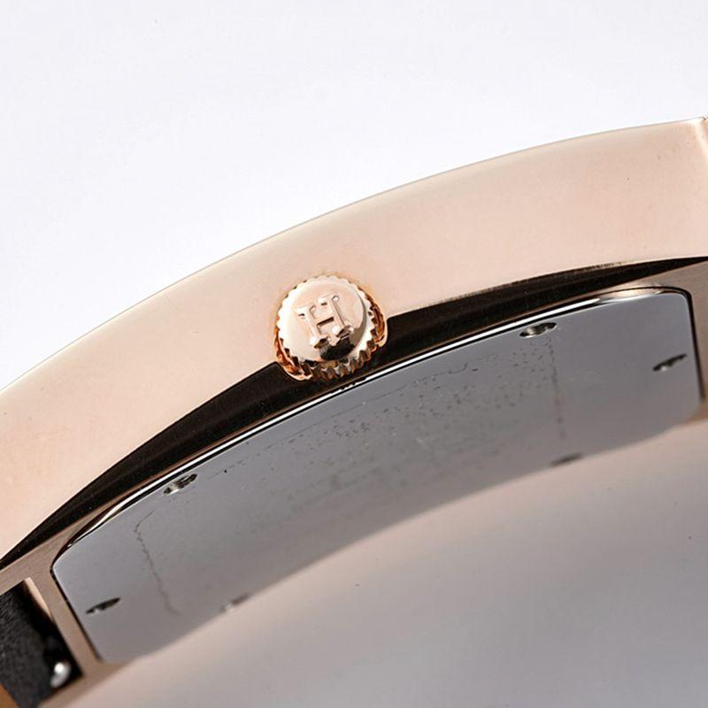 爱马仕顶级精仿手表HeureH大三针系列女士皮带玫瑰金白盘腕表