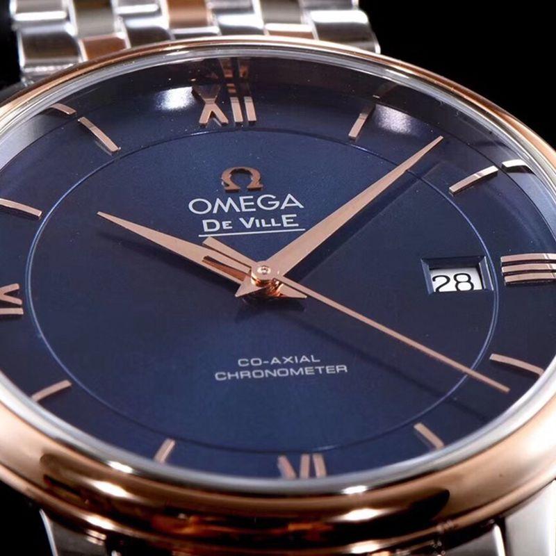 复刻欧米茄手表碟飞系列男士机械超薄手表间玫瑰金钢带蓝色面