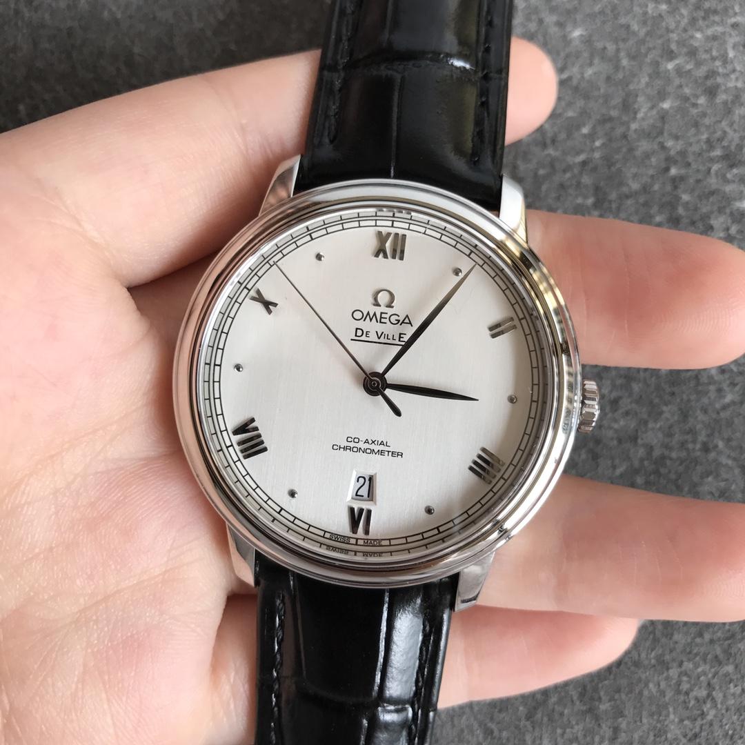 欧米茄顶级高仿手表蝶飞系列白面男士机械腕表