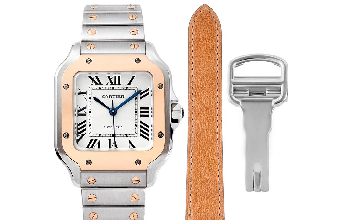 卡地亚顶级精仿手表山度士系列女士钢带白盘间玫瑰金腕表