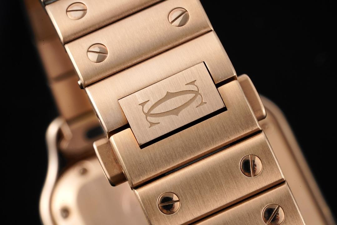 卡地亚顶级高仿手表山度士系列女士钢带白盘玫瑰金腕表