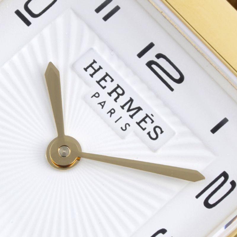 顶级高仿爱马仕女表HeureH系列石英方形时尚手表棕色表带玫瑰金盘