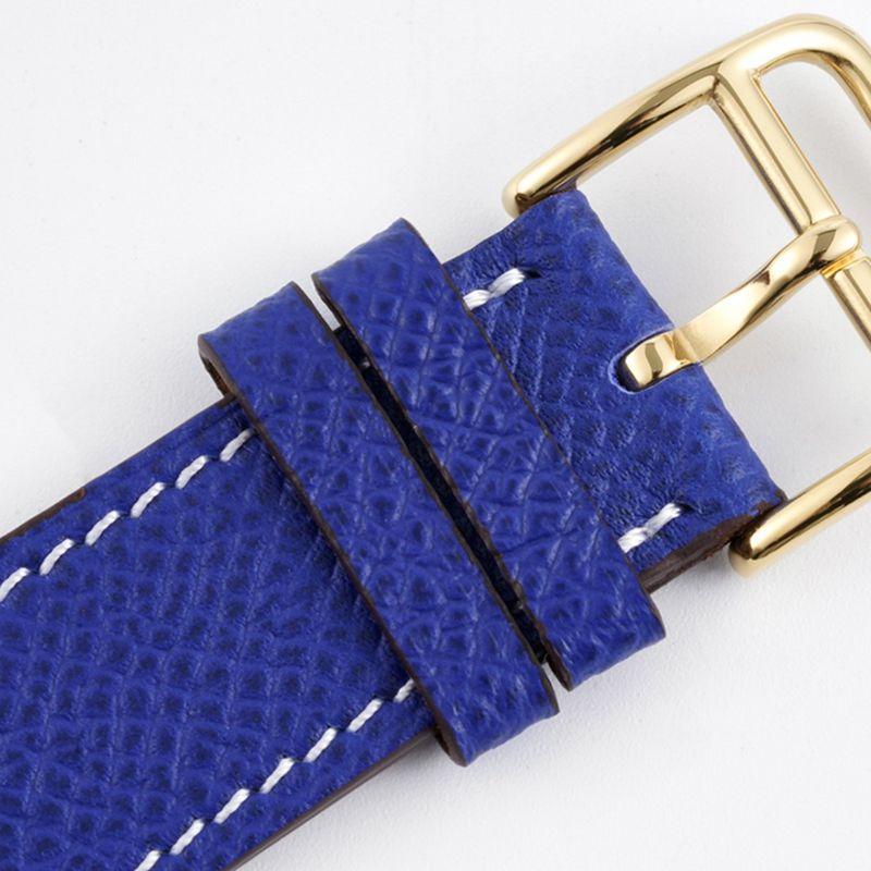 爱马仕女表顶级高仿HeureH系列石英方形时尚手表蓝色表带玫瑰金盘