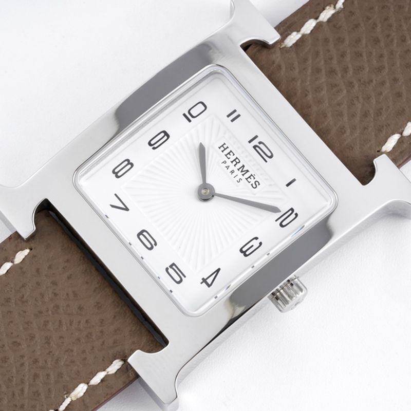 爱马仕女表顶级复刻HeureH系列石英方形时尚手表深灰表带白盘