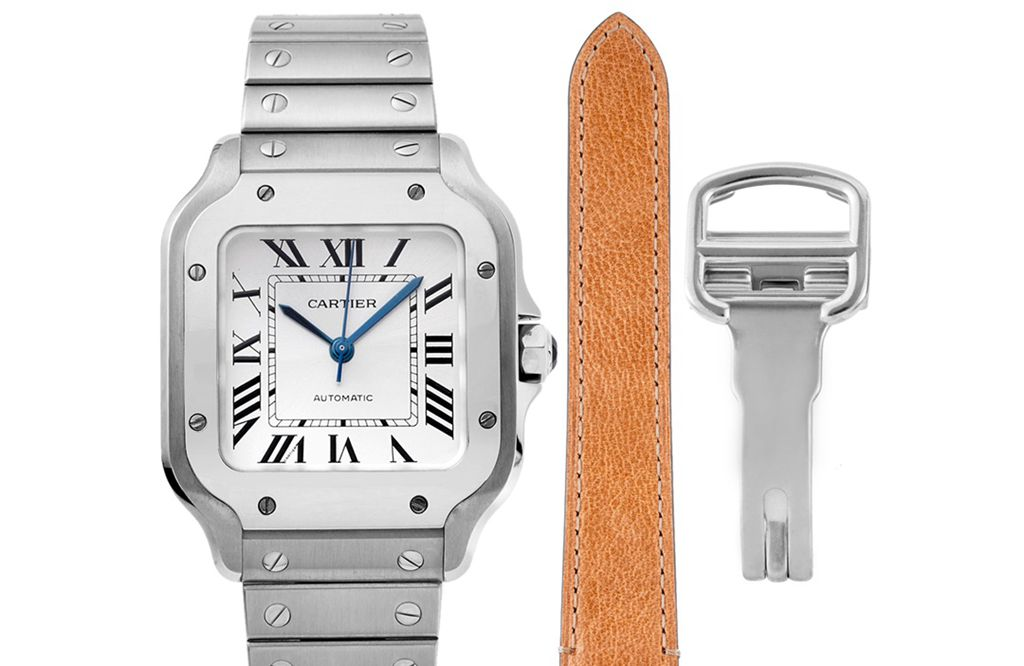 卡地亚顶级高仿手表山度士系列女士钢带白盘腕表
