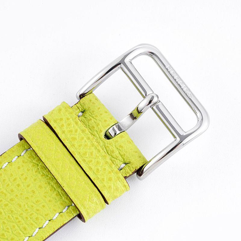 顶级复刻爱马仕女表HeureH系列石英方形时尚手表浅黄色表带白盘