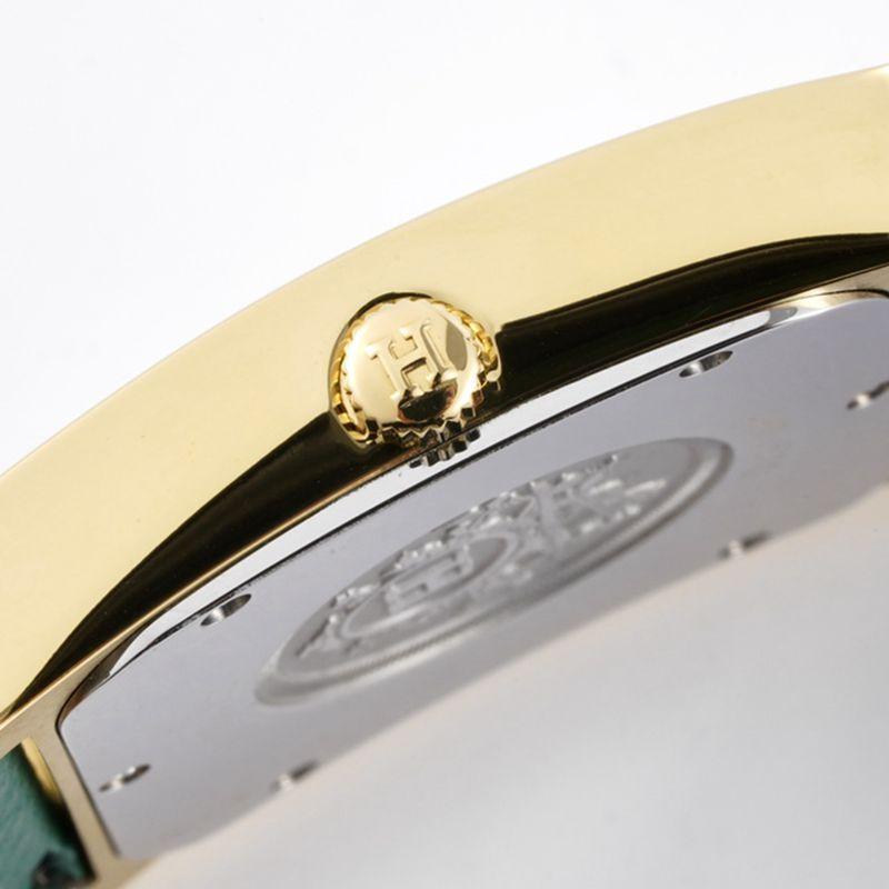 顶级精仿爱马仕女表HeureH系列石英方形时尚手表浅蓝色表带玫瑰金盘