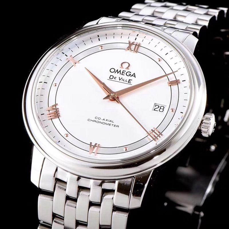 欧米茄高仿手表碟飞复商务系列男士机械超薄手表白钢玫瑰金刻度