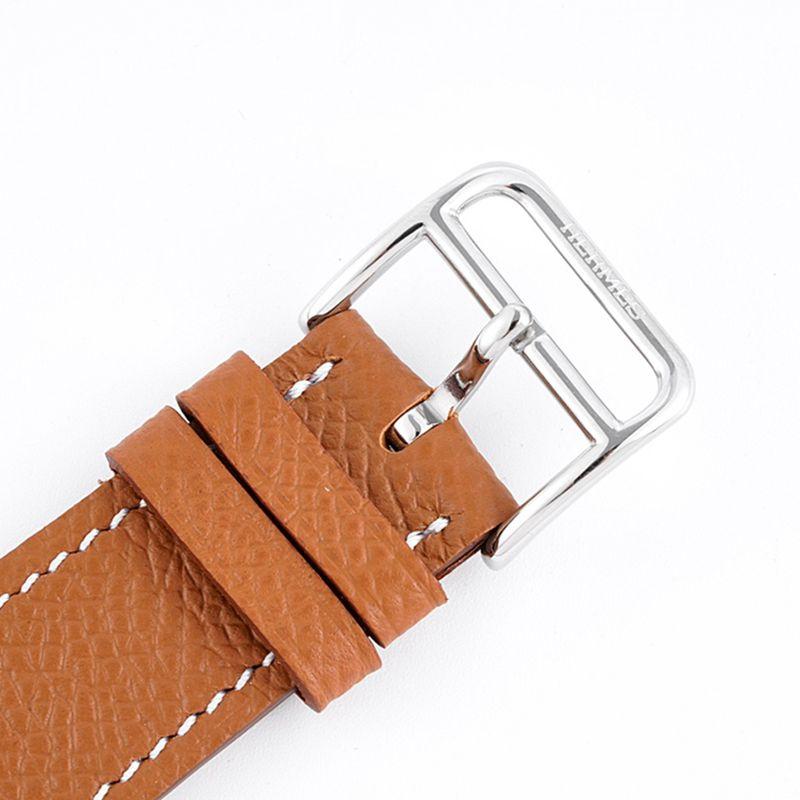 精仿爱马仕女表顶级品质HeureH系列石英方形时尚手表棕色表带白盘