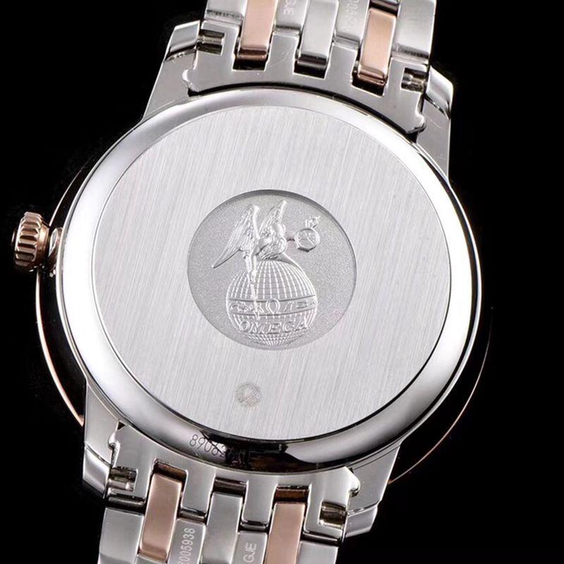 精仿欧米茄手表碟飞系列男士机械超薄手表间玫瑰金钢带咖啡面