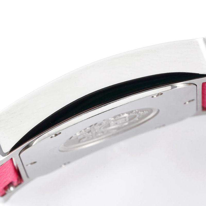 顶级高仿爱马仕女表HeureH系列石英方形时尚手表粉红表带白盘