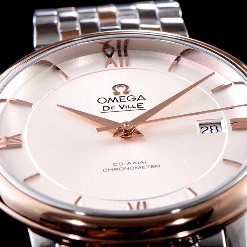 欧米茄手表碟飞复商务系列男士机械超薄手表间玫瑰金钢带白面