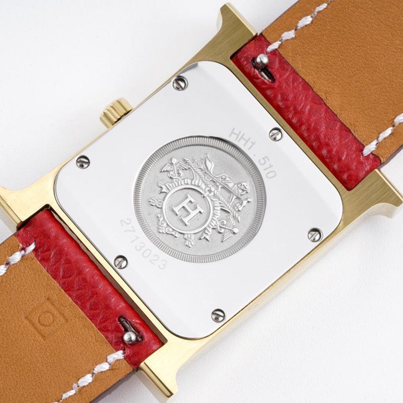 爱马仕女表顶级复刻HeureH系列石英方形时尚手表朱红色表带玫瑰金盘