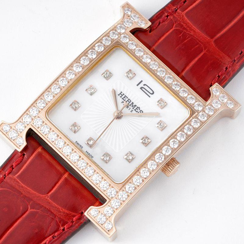 爱马仕顶级高仿手表HeureH大三针系列女士石英玫瑰金腕表