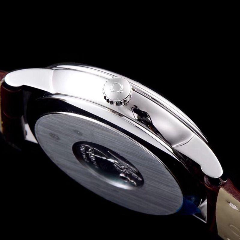 高仿欧米茄手表碟飞复商务系列男士机械超薄手表棕色表带轨道蝶飞