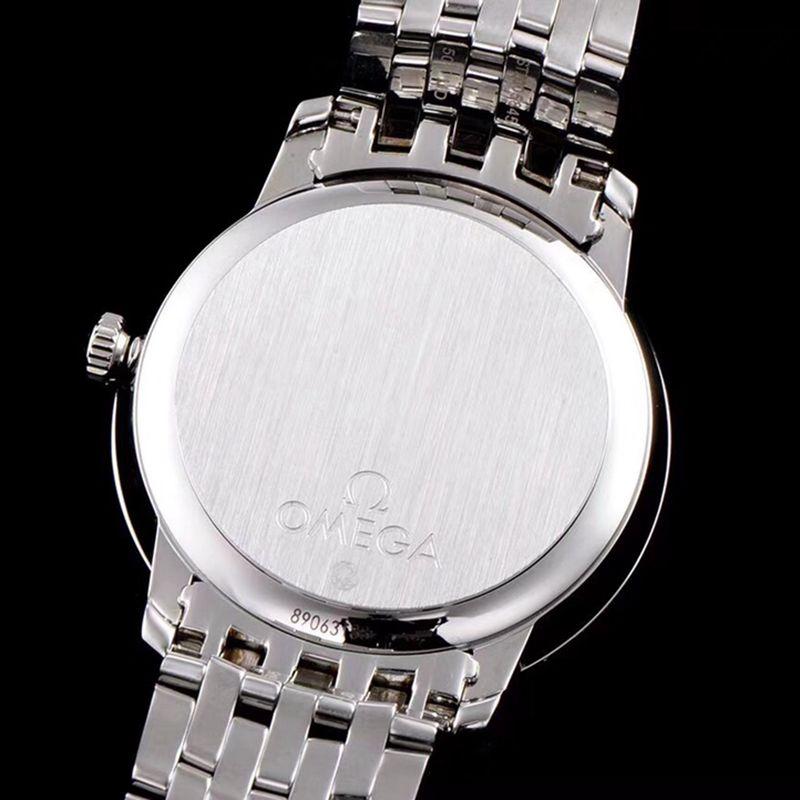精仿欧米茄手表碟飞系列男士机械超薄手表白钢白面