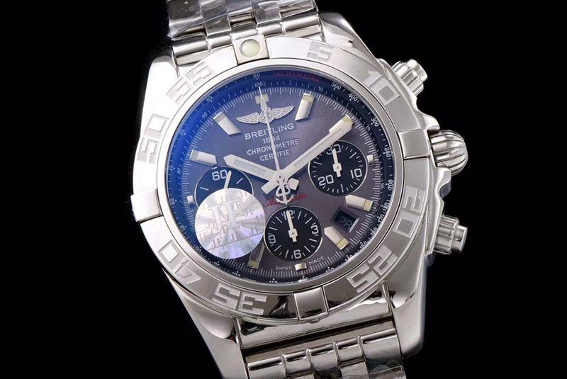 百年灵顶级高仿手表航空计时系列AB011011男士钢带灰盘机械手表