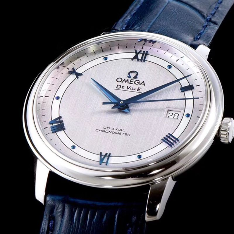 欧米茄复刻手表碟飞复商务系列男士机械超薄手表浅灰轨道蝶飞