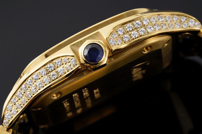 卡地亚顶级高仿手表山度士系列女士钢带钻石白盘金表腕表