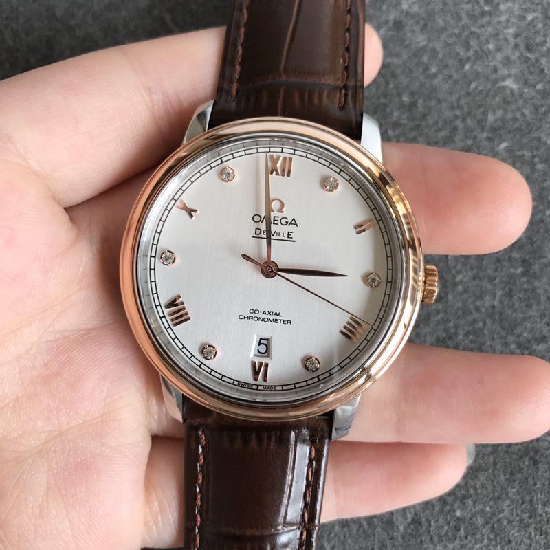 欧米茄顶级精仿手表碟飞系列男士白面皮带机械腕表