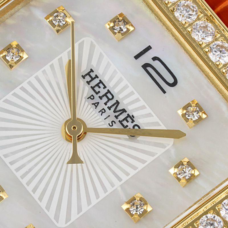 爱马仕顶级高仿手表HeureH大三针系列女士石英白盘腕表
