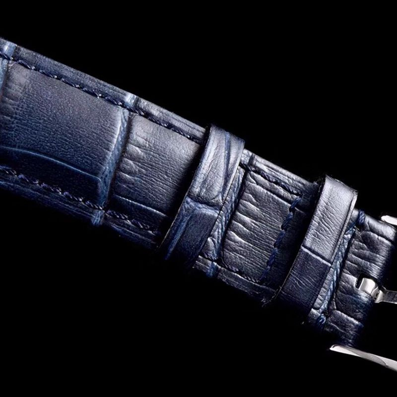 欧米茄精仿手表碟飞复商务系列男士机械超薄手表蓝色表带轨道蝶飞蓝