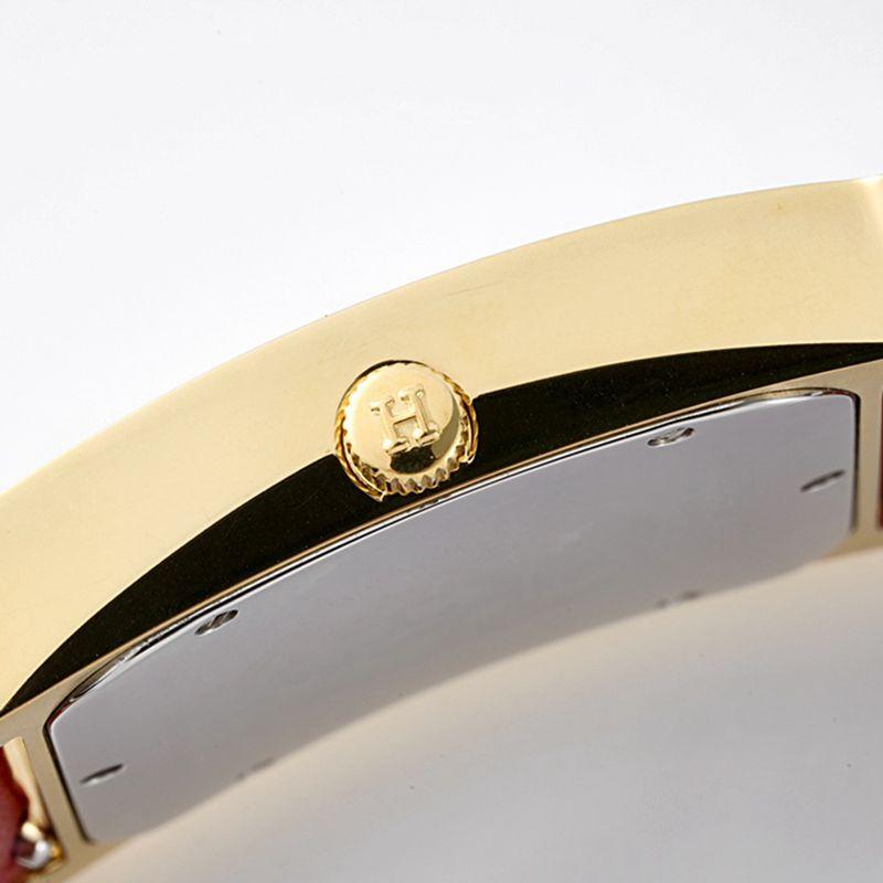 爱马仕顶级精仿手表HeureH大三针系列女士皮带白盘金色腕表