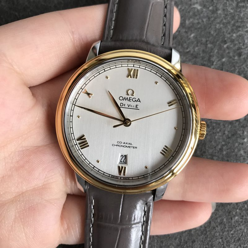 欧米茄顶级高仿手表蝶飞系列男士白盘金边皮带机械腕表