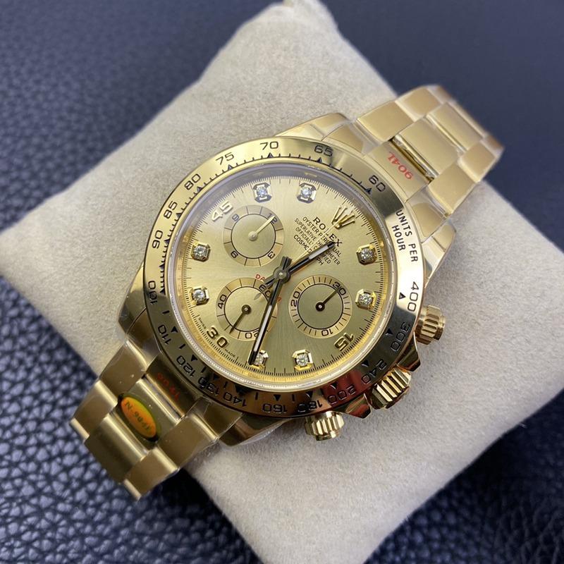 N厂复刻劳力士手表全新钻刻度款式迪通拿专属4130自动上链机芯全金金面