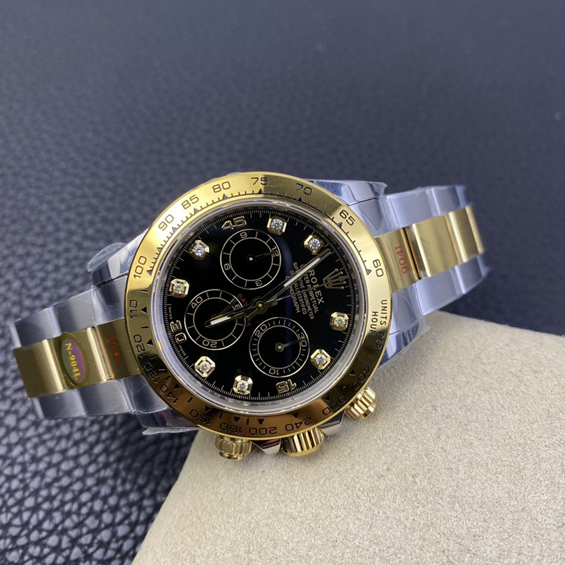 N厂劳力士复刻手表全新钻刻度款式迪通拿专属4130自动上链机芯间金黑盘