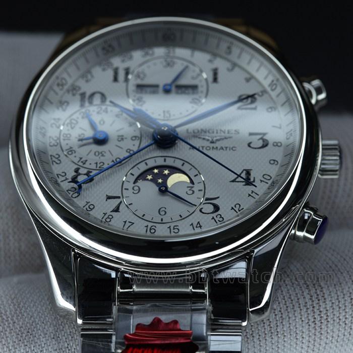 名匠系列八针月相40表径钢带款男士自动机械手表