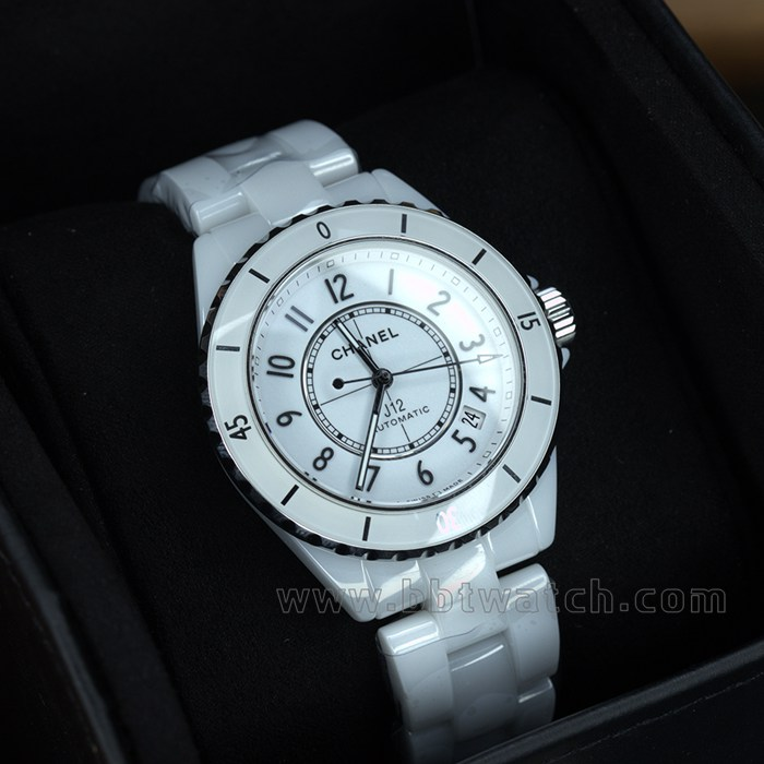 J12陶瓷女表白色自动机械手表