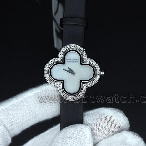 四叶草女表南非真钻丝绢表带瑞士石英手表